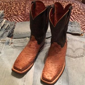 Lucchese Ostrich square toe western boots 11 NWOB